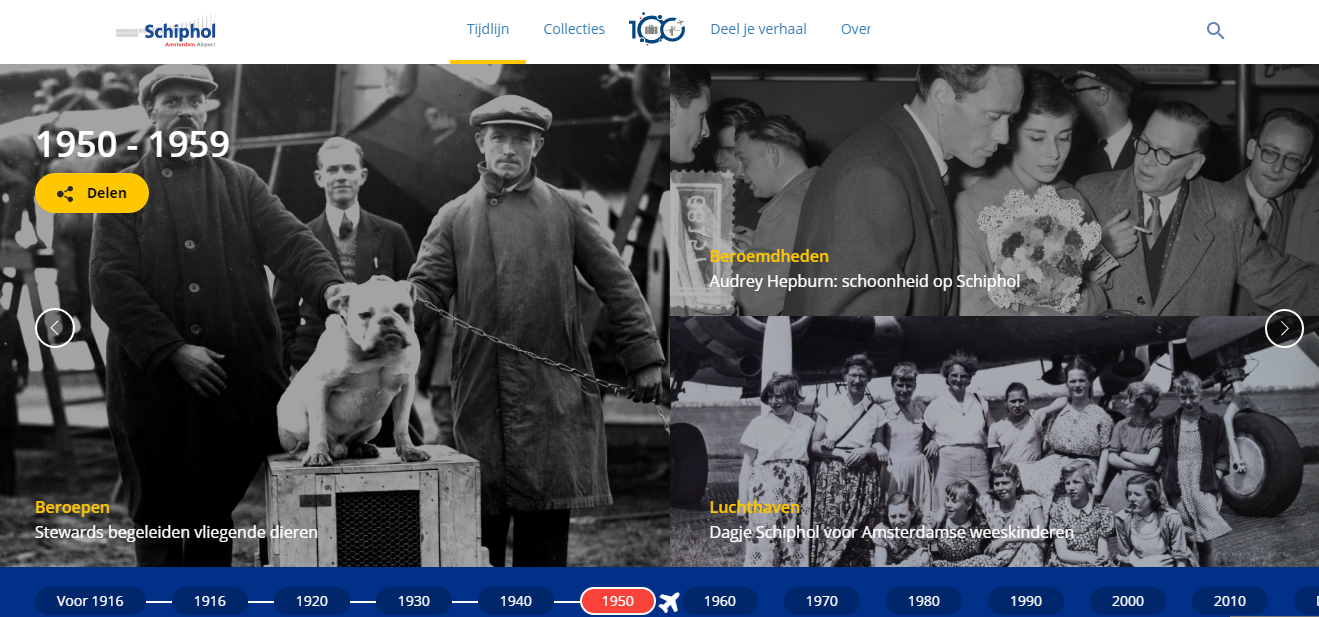 100 years Amsterdam Airport Schiphol: browse, experience and share!